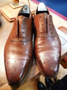 Shoes after cream polish and buffing
