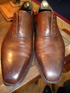 Shoes before cream polish