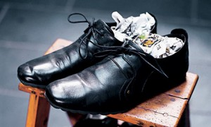 newspapers in shoes