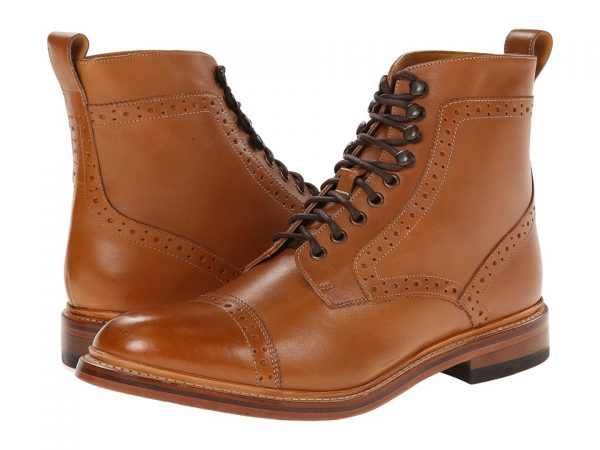 Light brown boots with dark brown laces