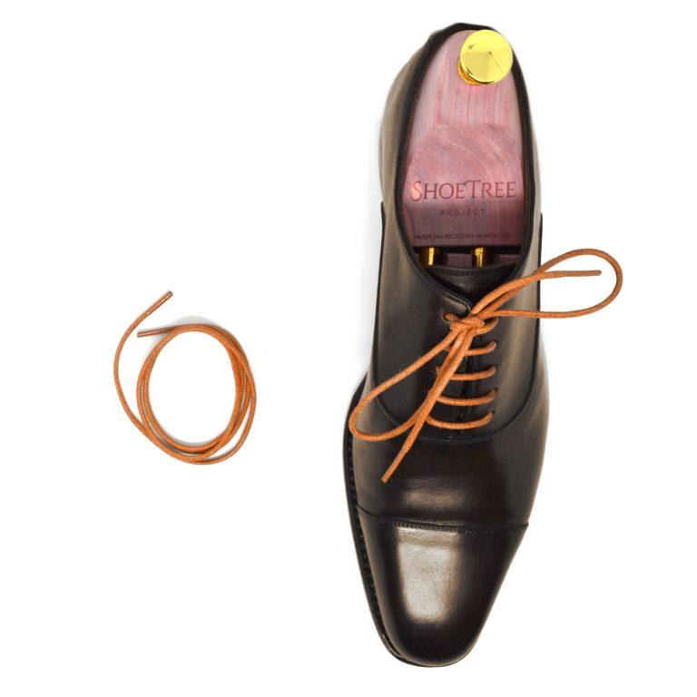round dress shoelaces on shoe