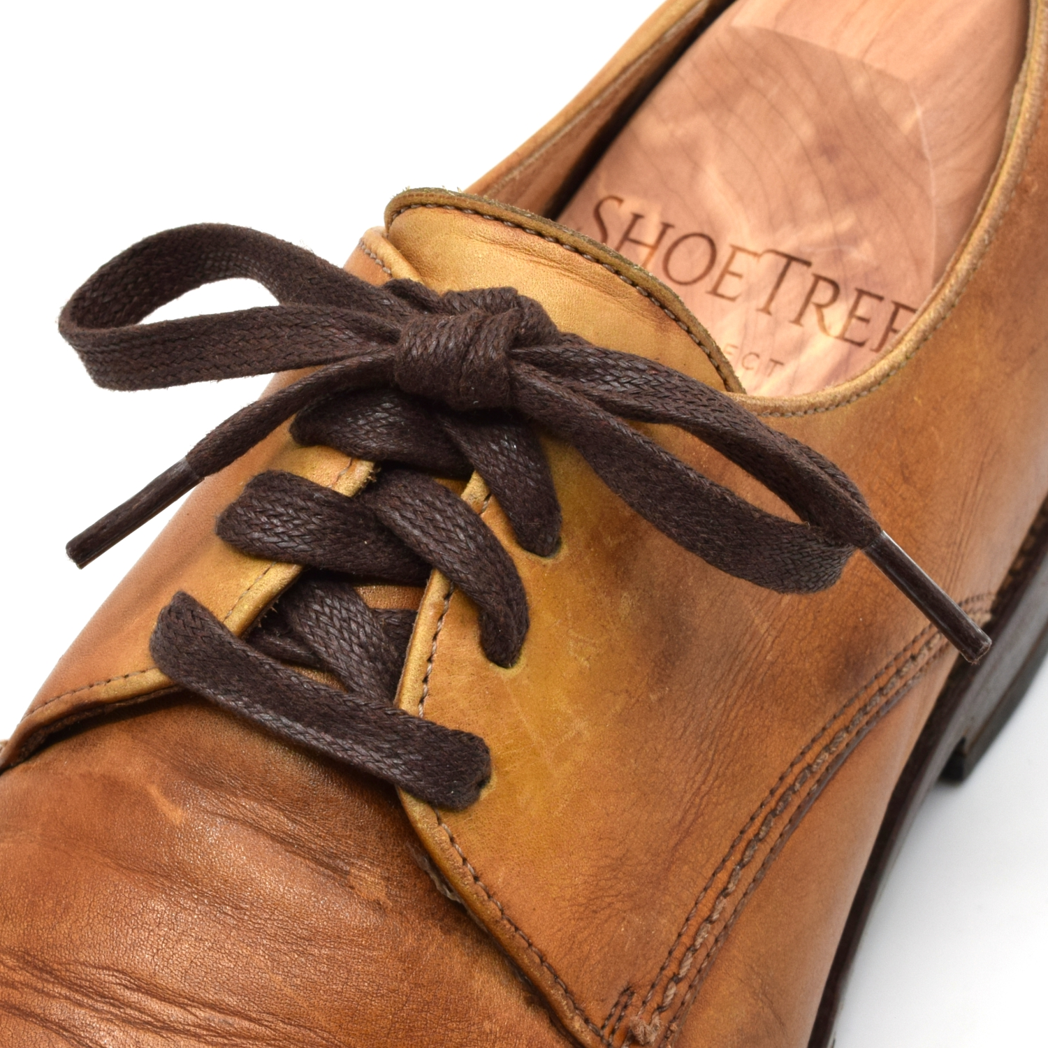 shoelaces flat waxed on shoe